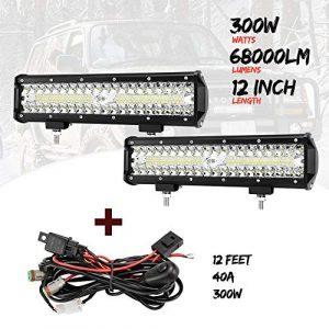 OEDRO LED Light Bar 12 Inch 180W LED Work Light Spot Flood Combo Beam Triple Rows Driving Fog Lights w//Wiring Harness Compatible for Off Road Truck Car Jeep Boat SUV ATV UTV Pickup