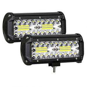 7 Inch LED Light Bar 120W LED Pods Off Road Driving Lights Led Work Lights Spot Flood Combo Beam Fog lights for Trucks Trailer Boat Pickup Car RV ATV Jeeps 4 Pack