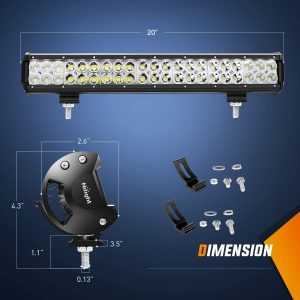 Nilight 20Inch 126W Flood Combo Road Light Bar 2PCS 18w 4Inch Spot LED Pods with Wiring Harness Kit, 2 Years Warranty